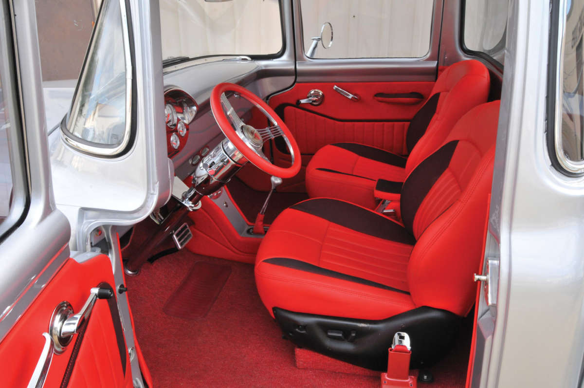 Fresh Body Panels For An F100 Reincarnation Magazine 1955 Ford Interior D15 D16 Jeffs Auto In Malabar Florida Fitted The Cabin With Synthetic Red Leather