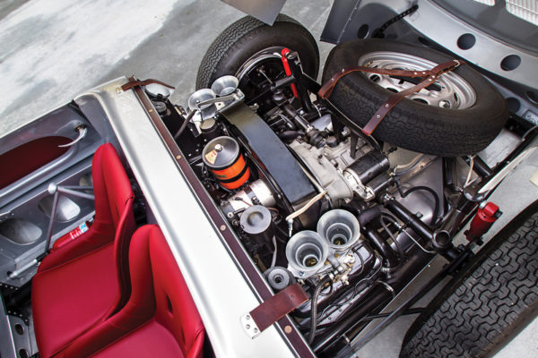Engine options range from a Porsche 1600 Super (shown here), de-bored to the period-correct 1500cc displacement, to a rare and sophisticated 4-Cam.
