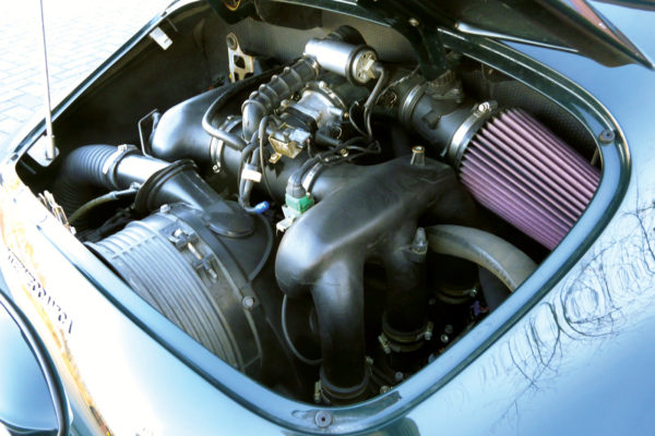 Rather than a VW Type 1 or Subaru, the engine is 290 hp air-cooled six from a '95 993 Porsche, sourced from Los Angeles Dismantler.