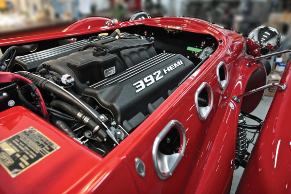 Allard Motor Works options its recreations with modern engines, such as General Motors and Mopar Hemi V8s.
