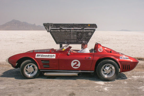 On one of their trips out west the Manires drove on the Bonneville Salt Flats. They found the black line used to guide the race cars in a straight during their high speed runs, and ran their roadster at triple digits. A year later, they still kept finding salt under the car.
