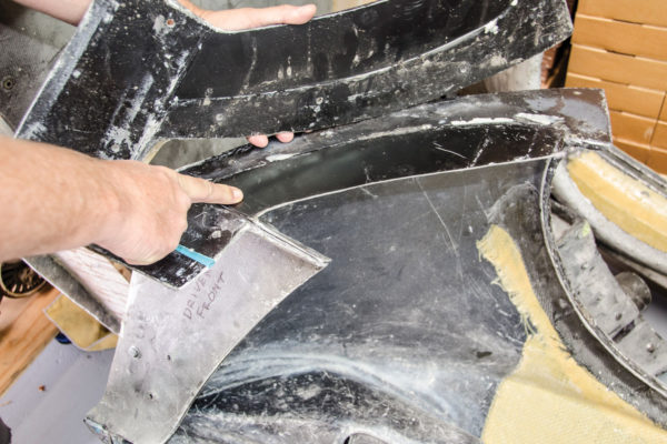 """Mold-making is an art form. Every flange and angle must be taken into account or the part may end up """"locked"""" in the mold. Here, an end flange is shown both bolted and unbolted, allowing the larger part to be removed from the mold. Multipart molds are needed to make complex shapes."""