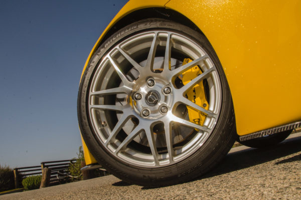 Ensuring crisp handling and sure stopping power are low-profile Michelin Pilot Sport tires and Wilwood brakes, with six-piston calipers up front and four-pistons in the rear.