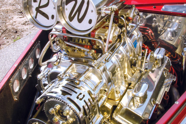 With 710 horses and 820 pounds of torque on tap, the bored and stroked 402 ci Chevy emits a staggering decibel level; so several yards of Dynamat were needed to quite it down.