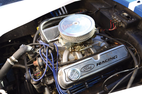 The engine bay isn't pretty, but it boasts big power in a small-block V8 for racing in the Rolex Series.