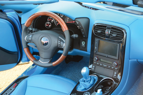 The interior is upgraded, but still has factory features.