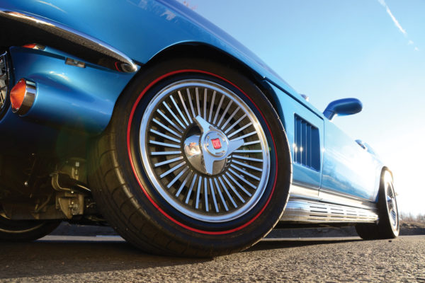 The rims are aftermarket bolt-ons, but with the style of traditional Kelsey Hayes wheels  from the 60s.