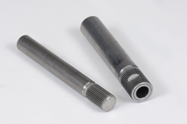 Two popular shaft ends are shown here:  a solid 3/4-inch O.D. with 36 splines (left), prevalent on early Mustangs, Novas, and Corvettes, and the one-inch O.D. double-wall tube end with 48 splines (right) found on the 1967-68 Camaro/Firebird and Chevelle/GTO tilt column (without shifter). Most shafts are constructed from 1-inch, thick-wall DOM 1010 tubing and terminate in either a splined end or the more common formed-end known as a DD. Of course, these ends connect the column to a steering box or rack and pinion.