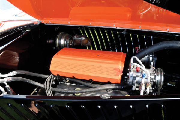 The Chevy 502 crate engine packs more than enough punch in stock form to move the car effortlessly down the road. Matched to a TH400 transmission and quiet mufflers, the car rolls past with a hushed demeanor.
