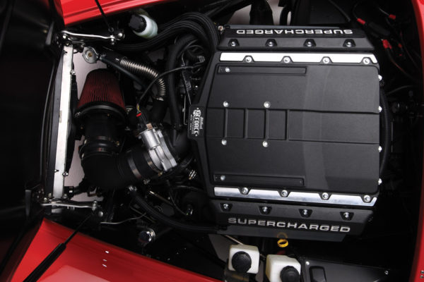 No hood clearance issues in a Factory Five Cobra, as the top of supercharger measures 20.83 inches above crank centerline.