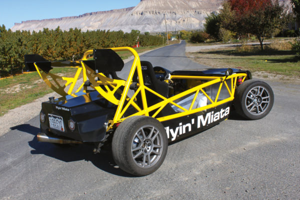 "The Exocet's exoskeleton chassis bolts right up to the Miata's ""roller skate"" frame and drivetrain."