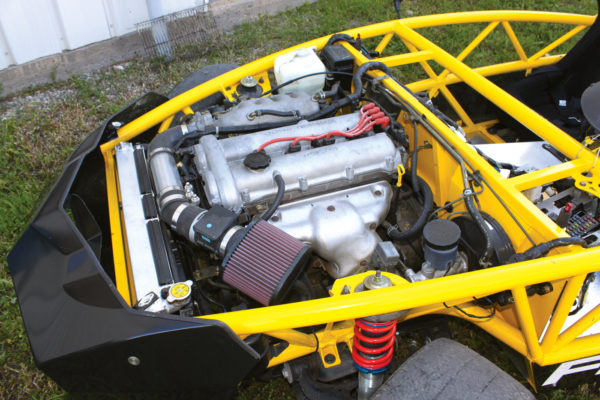 This '99 NB Miata 1.8-liter engine, backed by FM's Happy Meal clutch and a Torsen differential, has since been turbocharged. The Exomotive exoskeleton space frame is designed to handle as much as 700 ft-lbs 