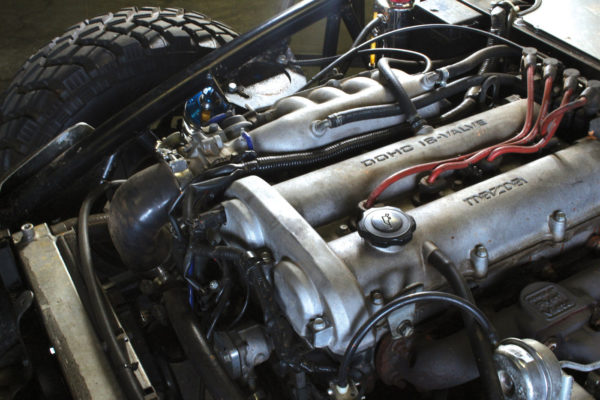 While a stock Miata engine can be used, Exomotive installed the FMII turbo kit to boost the output to 256 HP to the wheels.