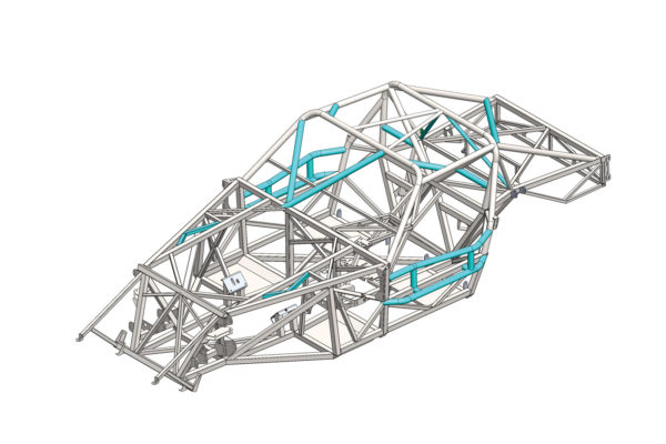 This CAD drawing of the R racing chassis highlights the enhancements to the coupe's frame, as indicated by the turquoise-colored tubing. These additions were designed to improve the strength of the cockpit area to meet competition standards. Surprisingly, the small tubes forward of the foot boxes made a much bigger difference in torsional rigidity than expected, for a 14-fold increase in stiffness in total. Depending on the suspension, the chassis can handle anywhere from 700 to 1,000 or more horsepower.