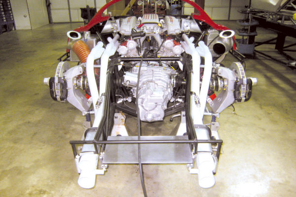While the transaxle is a Porsche G50, the axles and suspension uprights and headers were all custom fabricated to original specs by Norwood.