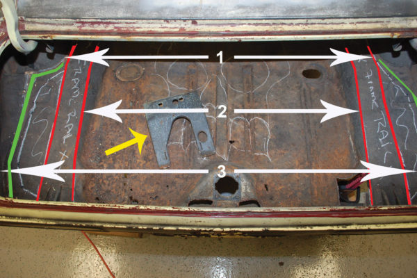 Here's the trunk floor that will be replaced. The first step is to take several measurements, so we will know if there needs to be any adjustments made once the trunk floor has been removed. If the quarter panels are left in place and the frame rails are in good shape, it's unlikely that these will change. Measurement 1 will go between the inner wheelhouses. Measurement 2 will go from the inside of the right frame rail to the inside of the left. Measurement 3 will go between the bumper mounting points on the rear quarter panels. Also make sure to remove any supports and brackets that will be transferred to the new panel. The yellow arrow indicates the gas neck filler support that was removed prior to cutting.