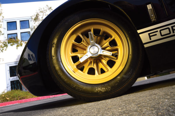 Gold-painted rims have the knock-off spinners used on the original MkII GT40.
