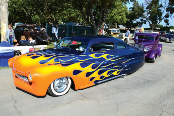 Hot licks on a lead sled heat up the show entrance.