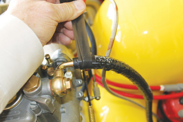 Fire Sleeve is used to protect the fuel line and is very simple to install. Cut the sleeve to the proper length, as you would any hose, and slip the sleeve over the hose. With the included Fire Tape, wrap the hose ends and clamp the hose back in place.