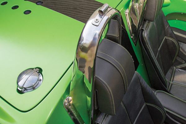 The roll bar has a modern taper in the shape, rather than a rounded radius.