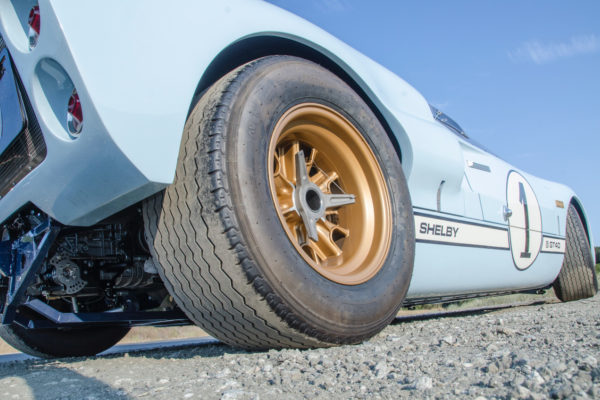 The original GT40's brakes got way too hot from hauling the car down from triple digits on the Mulsanne Straight, so Taormina installed vented Wilwood brakes, six-piston calipers up front and four-pistons in the rear.