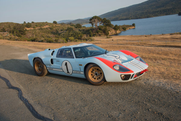 The custom racing livery follows that of the Le Mans winner driven by Ken Miles.