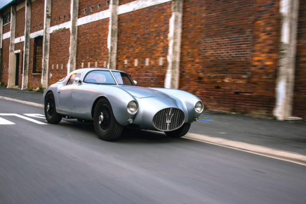 Unlike the light blue of the original Maserati that it's fashioned after, Dom B.'s car is finished in a satin silver-gray.