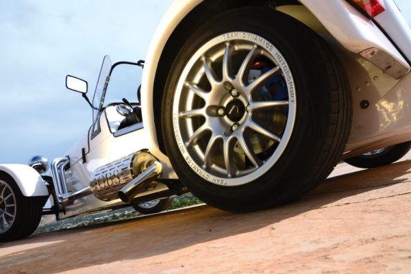 The car uses the stock Miata brakes which, given its 1,200-pound dry weight, is plenty of brake for the car.