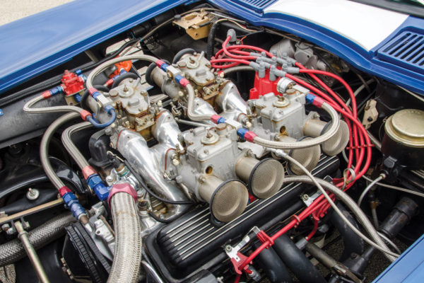 The 1970 LT-1 not only has Weber side-draft carbs, but also cast iron Dart heads, Mallory EFI, an oil cooler, and an electric cooling fan.