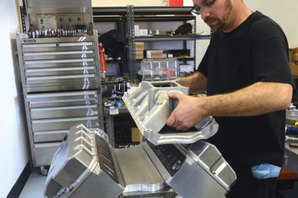 With common 1262R Fel-Pro gaskets in place, use any single- or dual-plane intake manifold that suits the block: a 351W intake mates with the 351W block.