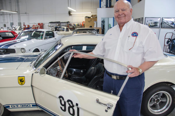 The glass side windows on the continuation cars are replaced with Plexiglas pieces operated by a manual pull strap, just as Jim Marietta used to do on the original GT350.