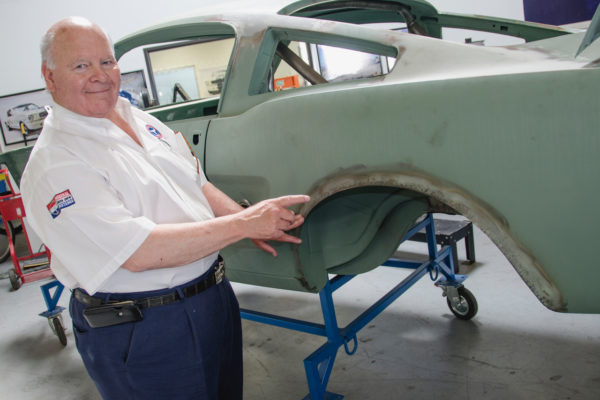 Original Venice Crew's Jim Marietta proudly points to one of the areas he modified on the original GT350 cars — the hand-flared rear fender wells, which make room for bigger tires. It's being done the same way on the continuation cars, but not personally by Marietta of course.