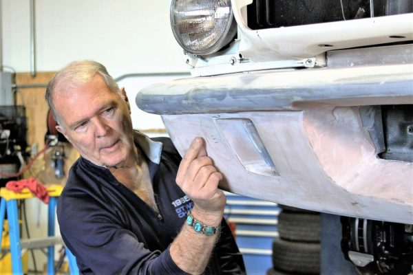 Here Peter Brock indicates where an additional radius will be added to promote flow to the front brake. Note that radii have not yet been added to the radiator intake