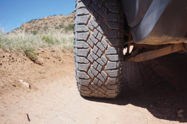 All tires tested featured rugged off-road tread patterns and performed well. The Goodyear Wrangler DuraTrac is siped heavily for improved traction during off-road and winter driving.