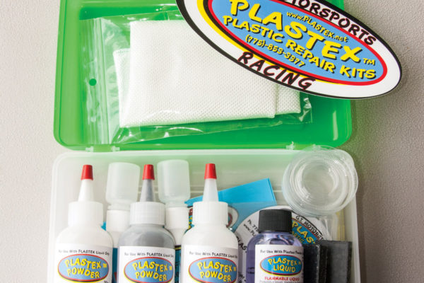 The Plastex kit includes three bottles of acrylate powder (clear, white and black, and colored additives are available for matching hues); a liquid hardener (methyl acrylate monomer); and a special untreated, nonreactive fiberglass cloth, which can be used on larger repairs. Strips of black putty are included as well for molding parts.