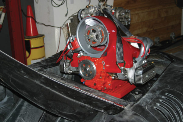 Here's the turbocharged engine going into the RSK for the final time. The 2,110 cc mill was originally slated for a Speedster replica, but the builder ran out of money.