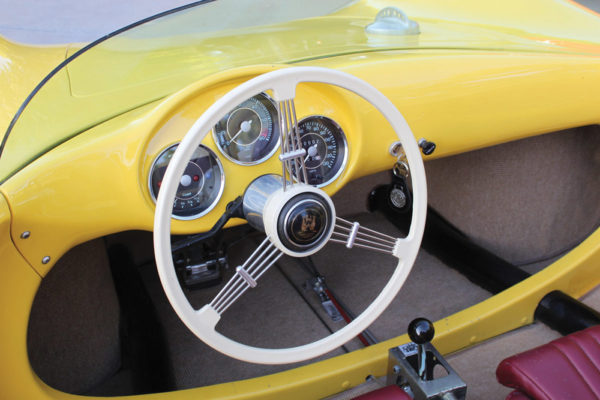 The RSK's cockpit retains a vintage feel, with a Speedster-style three-gauge cluster, minimal switch gear and FLAT4 banjo steering wheel.
