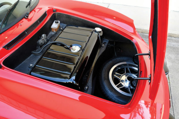 Under the forward-opening hood is the traditional Volkswagen 10-gallon gas tank and spare tire, adding weight to the front end for better handling.