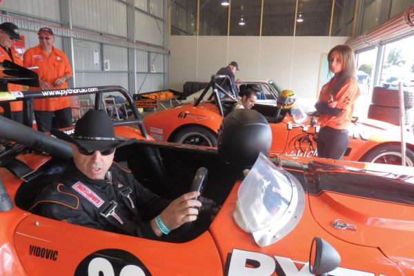 George Vidovic readying to head out on the track at the Historic Sandown.
