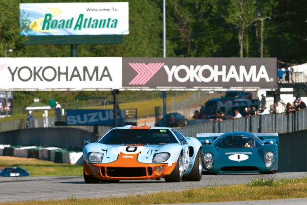 Jeff McKee's Superformance GT40 repro leads a Lola T-70 at the 2016 Mitty Road Atlanta. He later placed first in class at the 2017 Sebring Historics in his Superformance GT40 