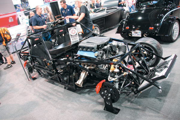 Factory Five Racing's booth is typically the largest indoor display of replicas at SEMA. The big news is the company's revamped space-frame chassis for its Type 65 Coupe, which will likely serve as the foundation for other body styles to follow. Also on hand is a new metal body option for its '33 Ford.