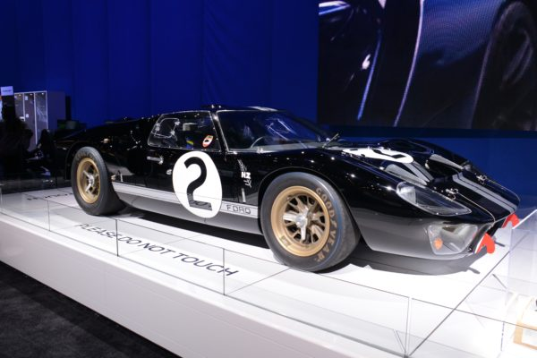 The Ford GT40 MKII P/1046 piloted by Bruce McLaren and Chris Amon to victory at the 1966 LeMans was the center of attention at the Ford SEMA display. The 7.0 liter V8 is perched about four inches behind the driver's head.