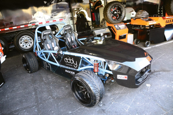 An electrified Exomotive from Eddy Motorworks, quietly running a Tesla S powertrain.
