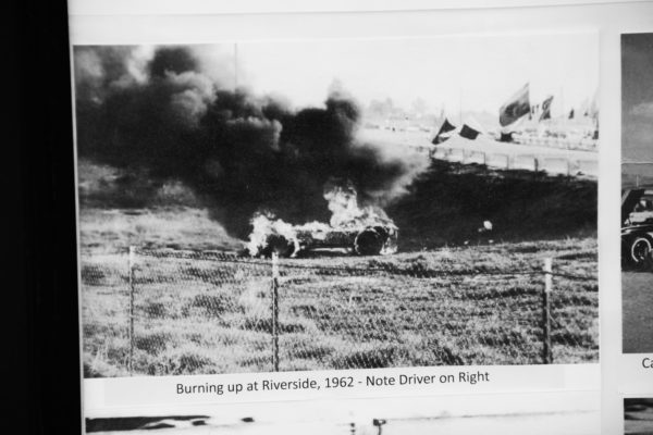 During a catastrophic fire at Riverside in 1962 the magnesium wheels caught fire as well and track workers had to bury the car with dirt to put out the flames.