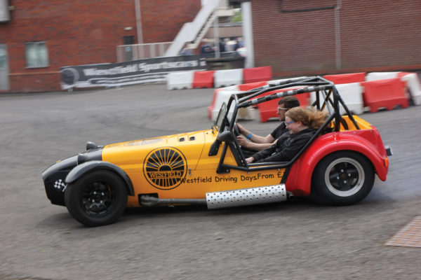Squealing tires rock the showgrounds at Stoneleigh, caused by Westfield and their slalom rides for £10 a turn.