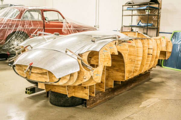 The aluminum coachwork on the Strada will all be formed at Austin's shop using old-school methods.