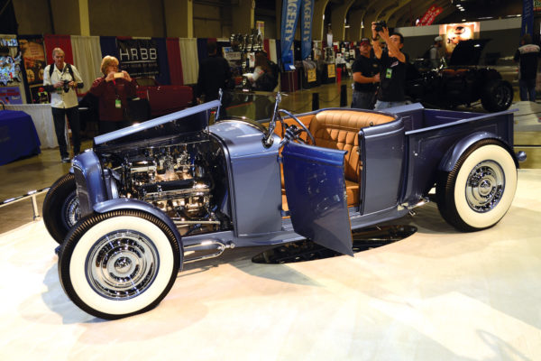 Matt Gordon's 1932 Ford Roadster pickup satisfied the tastes of traditional rodders, and took home the new Pete Chapouris Memorial Award. Hailing from Alabama, it was built by Goolsby Customs with a Rocket 88 and fittingly goes by the moniker Time Merchant.