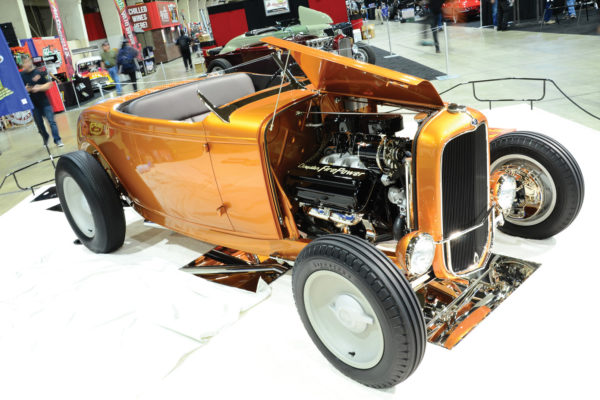 """Rather than running the more typical Chevy V8 engine, Dan Peterson's '32 Ford, a low-slung Highboy nicely crafted by the Austin Speed Shop, has a Hemi V8 built by Billy """"Roach"""" Cockrell. No surprise, then, that it's called The Hill Country Flyer."""