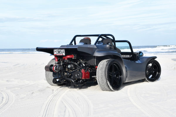 While the body is similar to the Volkswagen-based Meyers Manx, Auto Fanatik heavily modified a Fisher dune buggy to fit the custom tubular frame.