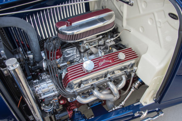 The original '32 Ford's flathead was good for 60 horses or so, but this Edelbrock/Ford 347 ci stroker